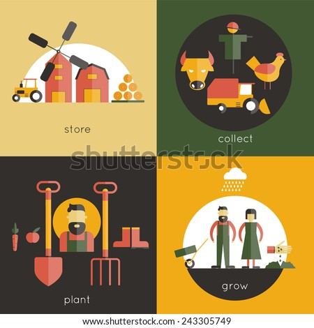 Farm design concept set with store collect plant grow flat icons isolated vector illustration
