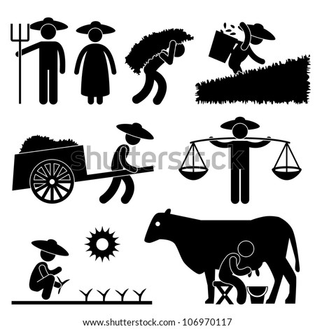 Farm Farmer Worker Farming Countryside Village Agriculture Icon Symbol Sign Pictogram