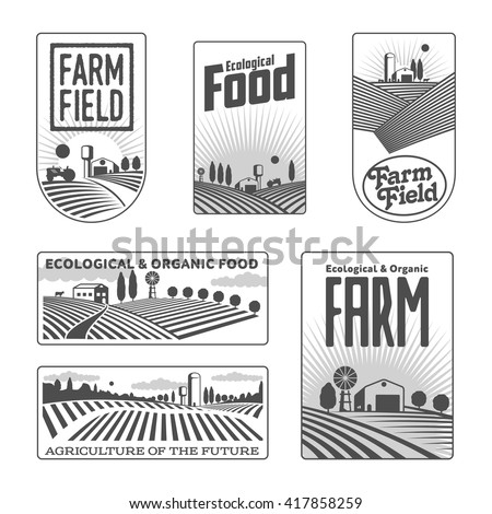 farm field labels set of vector