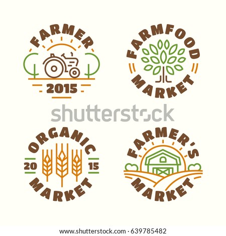 Farm food market and organic emblem set color line style isolated on background for farming, natural product company, nature firm, healthy food shop, vegan cafe, eco store, garden. Vector Illustration
