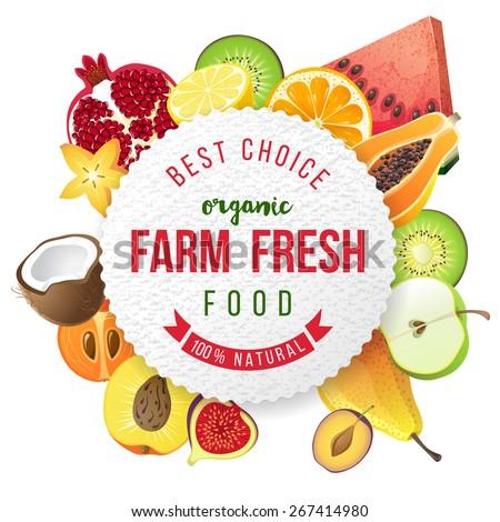 farm fresh fruits emblem