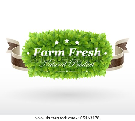 Farm Fresh label with green leaves texture. Vector illustration.