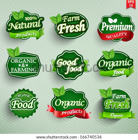 Farm fresh, organic food label, badge or seal