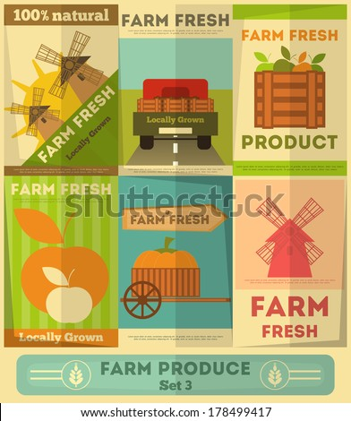 Farm Fresh Organic Food Posters Set Retro Placard in Flat Design Style Vector Illustration