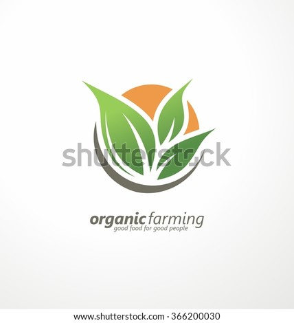 Farm fresh products unique sign or icon image. Plant sprout and sun symbol. Organic farming logo design idea. Logo template for fresh farm food.