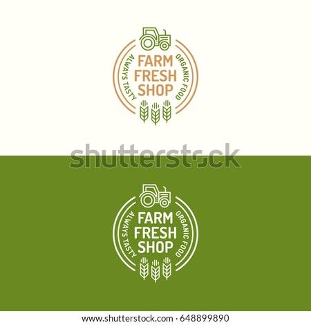 Farm fresh shop logo set color line with icon tractor and wheat on background for natural product company, healthy food market, vegan cafe, eco store, nature firm, garden, farming. Vector Illustration