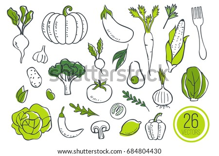 Farm fresh vegetables icons. Sketch style vector illustration isolated on white background.