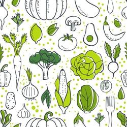 Farm fresh vegetables seamless pattern. Sketch style vector illustration.
