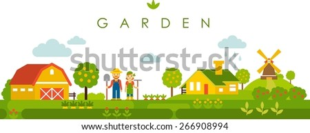 farm garden panoramic landscape