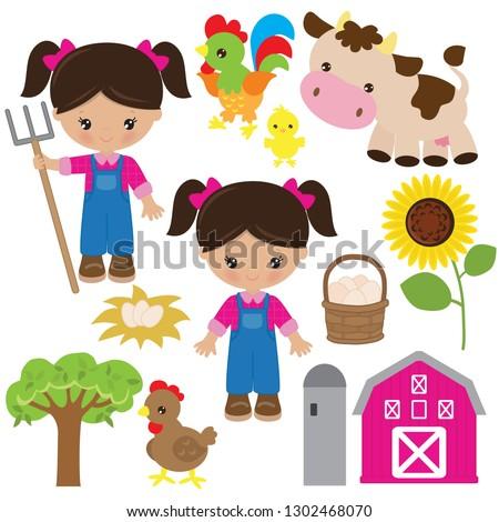 Farm girl vector cartoon illustration