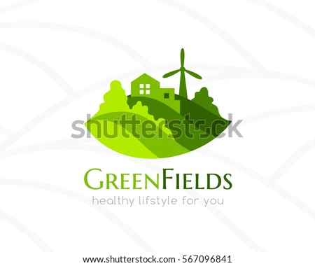 farm green landscape and house