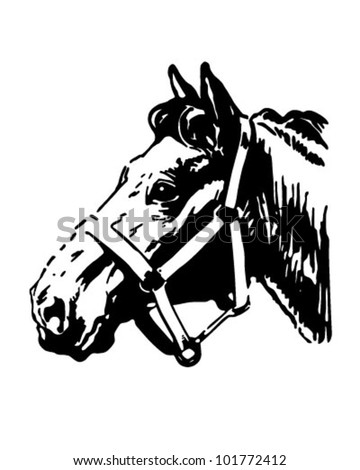 Farm Horse - Retro Clipart Illustration