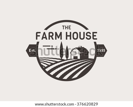 Farm House Concept Logo Template With Farm Landscape Label For