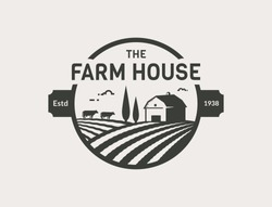 Farm House logo isolated on white background. Black emblem with farmhouse, cows and fields for natural farm products. Vector illustration.