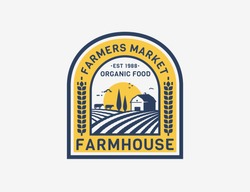 Farm House logo isolated on white background. Retro emblem with farmhouse, cows and fields for natural farm products, organic food, farmers market. Vector label.