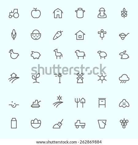 farm icon set  simple and thin