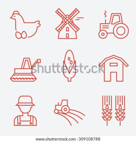 Farm icons, flat design, thin line style