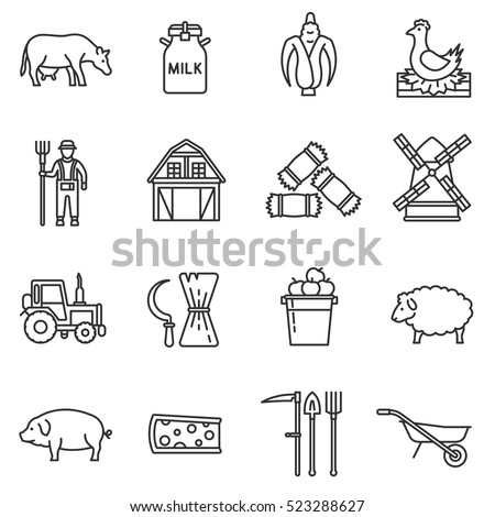 farm icons set agriculture and