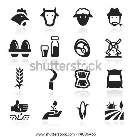 Farm Icons set elegant series - stock vector