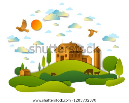 Farm in scenic landscape of fields and trees and wooden country buildings, birds and clouds in the sky, cow milk ranch, countryside lazy summer time vector illustration in paper cut style.