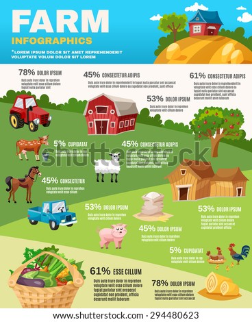 farm infographics set with...