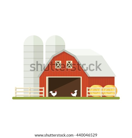 farm isolated flat vector eps image illustration chicken stack barn design background building construction