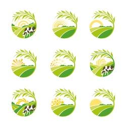 Farm isolated green logo collection. Rural landscape logos set. Environmental signs. Set of vector design emblem elements. Green plantations logotype.