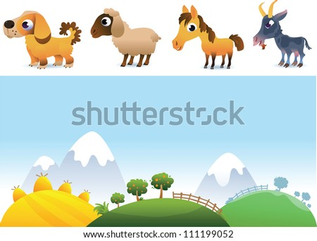 Farm landscape and animals