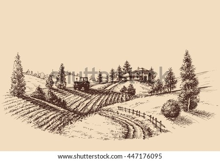 farm landscape etch ...