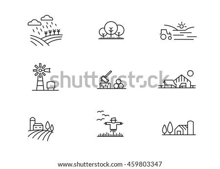 Farm landscape icons, thin line style