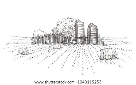 Farm landscape view vector sketch.
