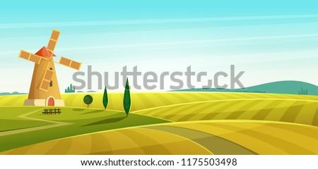 farm landscape  windmill on