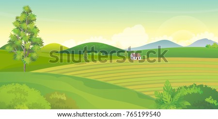 farm landscape with mountains