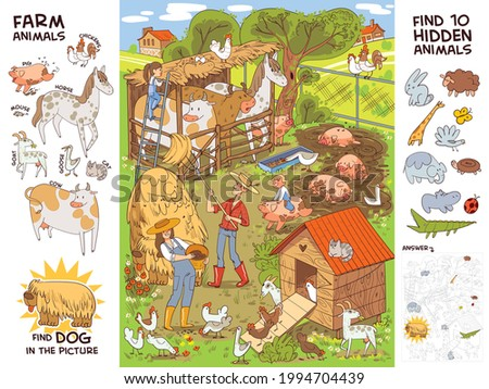 Farm life and farm animals. Find all farm animals. Find 10 hidden objects in the picture. Puzzle Hidden Items. Funny cartoon character. Vector illustration. Set