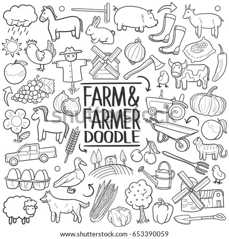 farm life doodle icons hand made