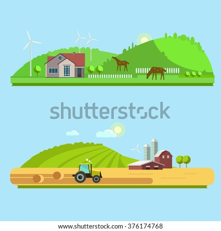 Farm life: natural economy, agriculture,  harvesting, life in the countryside, rural landscapes with fields and hills. Tractor in the field harvests. Set vector illustrations