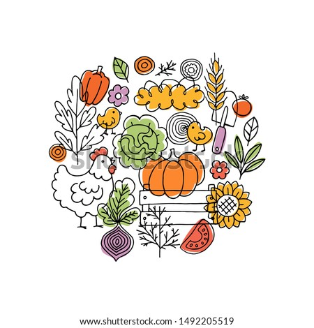 Farm living composition. Linear graphic. Chicken, vegetables and harvest tools. Scandinavian style. Vector illustration