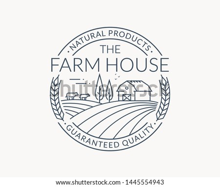 Farm logo isolated on white background. Black line emblem with farmhouse, cows and wheat ear. Vector outline badge for natural products and organic food.