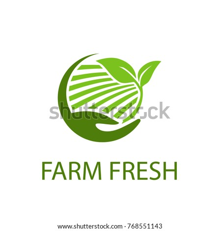 farm logo vector with hand.eps