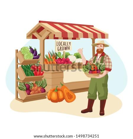 Farm market vector flat cartoon illustration. Farmer sells locally grown fresh vegetables. Healthy organic grocery food shop concept.
