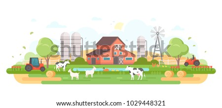 Farm - modern flat design style vector illustration on white background. A composition with a village, a barn, trees, pond, windmill, silage towers, animals, tractor, haystacks
