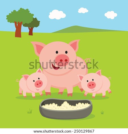 farm mother pig and piglets