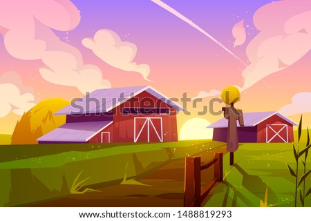 farm on nature rural background
