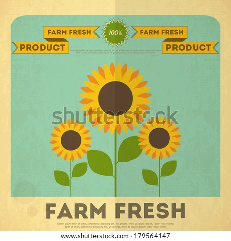 farm organic food poster retro