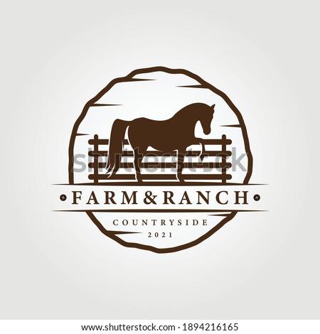 farm, ranch logo, horse logo vector illustration design graphic , unicorn icon, vintage farm and ranch logo Stock photo ©