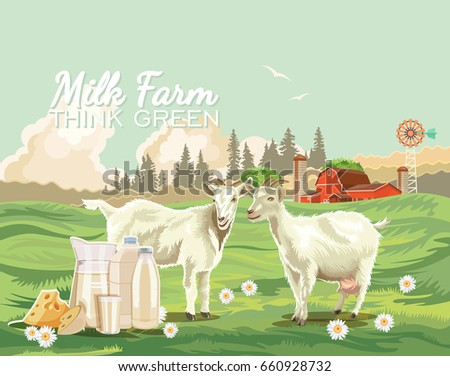 Farm rural landscape. Agriculture vector illustration. Colorful countryside. Poster with retro village, farm and goats