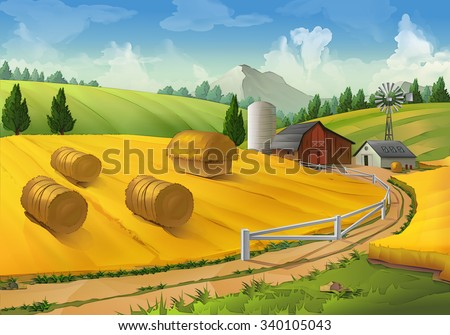 farm  rural landscape vector