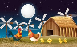 Farm scene with barn and windmill and chicken at night illustration