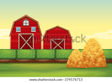 Shutterstock Farm scene with barns and haystacks illustration