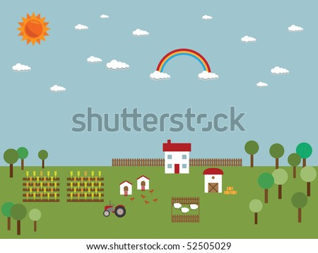 farm scene with buildings, animals, and crops